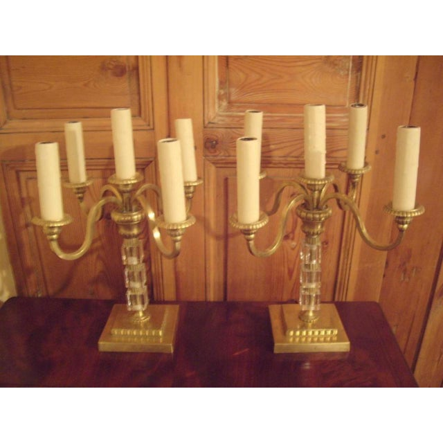 Pair 1930's Brass and Lucite Candelabras For Sale - Image 4 of 8