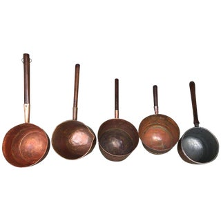 Collection of Five Antique Spanish Handmade and Forged Copper Cook Pans For Sale