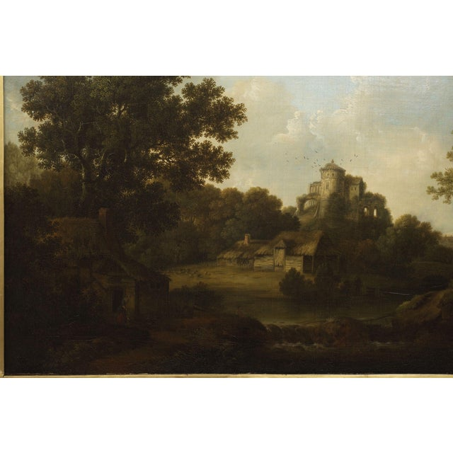 """Blue """"Landscape W/ Castle Ruins"""" Antique English Painting by George Smith of Chichester For Sale - Image 8 of 13"""