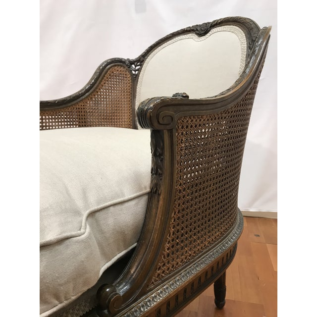 Late 19th Century Louis XVI Style European Mahogany Carved Blind Cane Chaise For Sale - Image 5 of 11