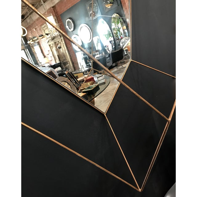 Contemporary Italian Large Rhomboidal Sculptural Wall Mirror in Brass For Sale - Image 3 of 10