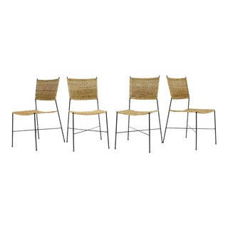 Set of Four Dining Room Chairs in Wicker and Metal, Germany, 1960s For Sale