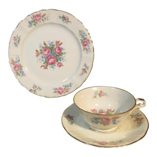 1920s Bernardaud & Co. Limoges Raised Latticework with Florals Plate Cup Saucer Set of 3 For Sale