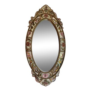 Early 20th Century Vintage French Reverse Painted Gilt Wood Regency Mirror For Sale