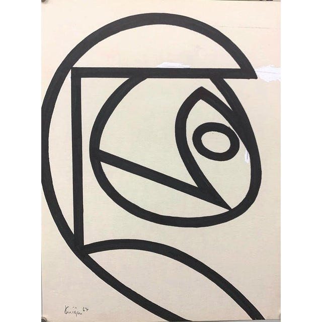 Original Mid Century Ink Brush Abstract 18 Michael Knigin Early Work For Sale