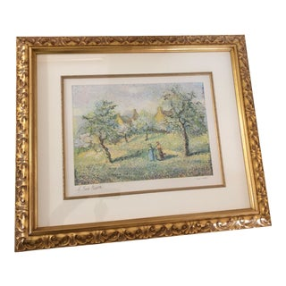 1900s Impressionist Print of Framed Trees in Bloom Aquatint Signed by H Claude Pissarro For Sale