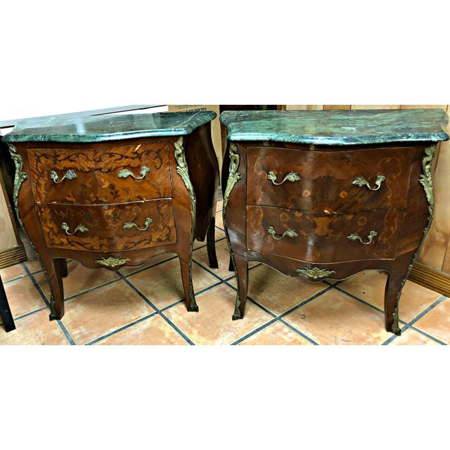 French Marquetry Inlay and Marble Top Commodes - a Pair For Sale - Image 4 of 13
