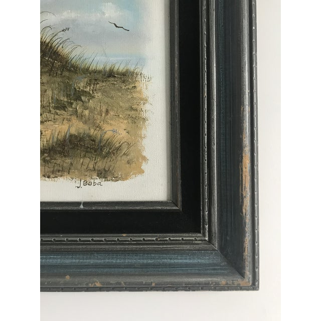 Oil painting on stretched canvas. Framed in a solid wood frame in a bluish color with a black velvet mat. The scene is of...