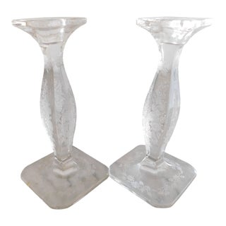 Vintage Floral Etched Glass Candleholders - a Pair For Sale