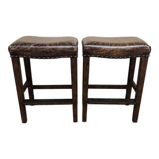 Pair of Manchester Leather Counter Stools by Pottery Barn For Sale