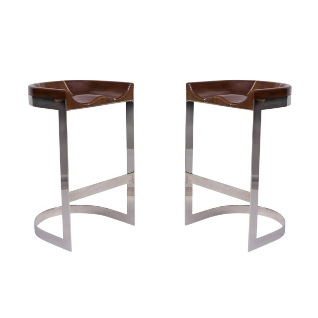 1970s Warren Bacon Barstools - a Pair For Sale