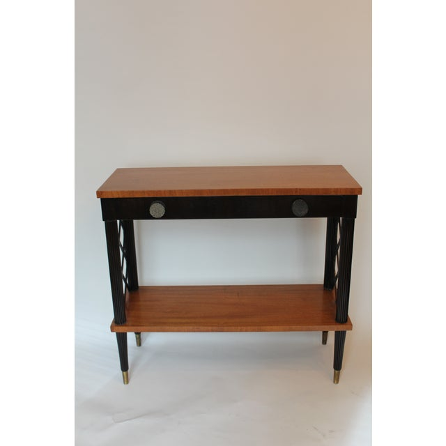 Brass 1940s Vintage Lattice Side and Reeded Leg Mahogany Console Table For Sale - Image 7 of 7