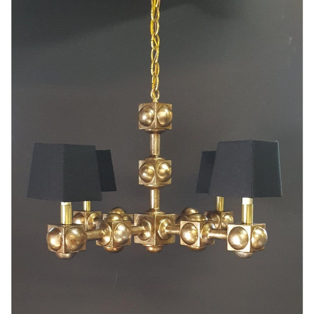 Modern Four Square Chandelier Champagne Finish With Black Linen Shades For Sale - Image 3 of 3