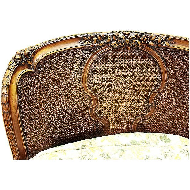 French 19th-C. French Caned Recamier For Sale - Image 3 of 7