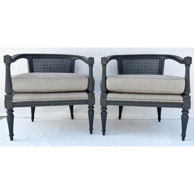 Bamboo Silk Upholstered Cane Back Chairs - A Pair For Sale - Image 10 of 10