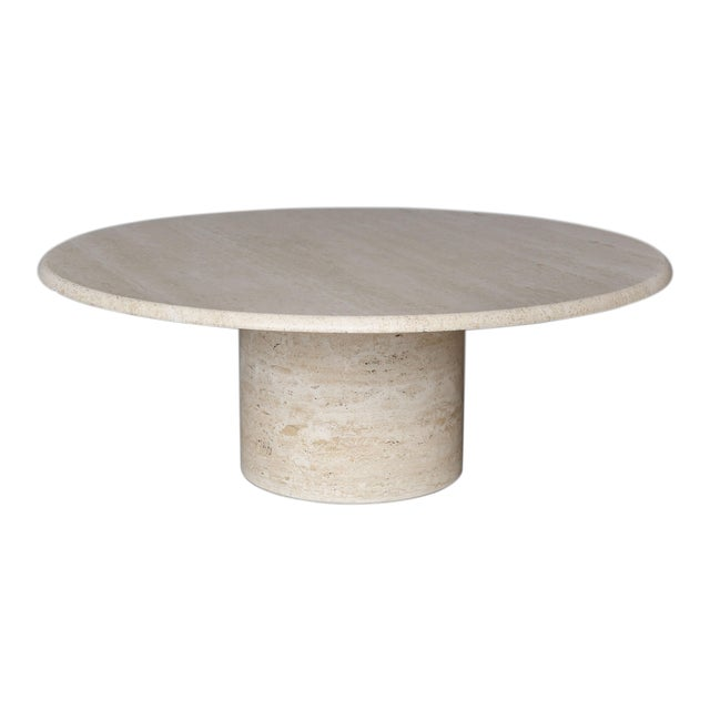 Mid Century Round Travertine Coffee Table - Image 1 of 9