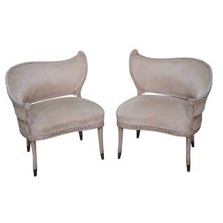 Vintage Paint Frame Regency Fire Side Chair - Pair