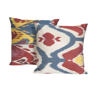 Traditional Ikat Silk Pillows in Primary Hues For Sale