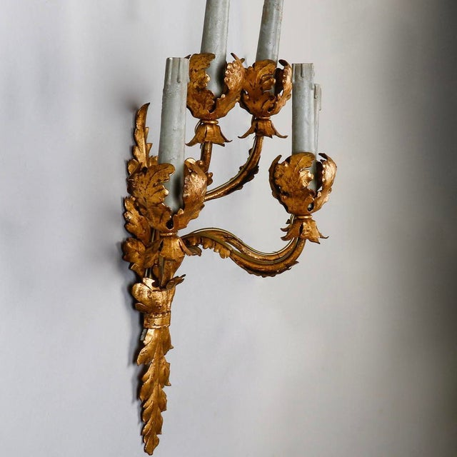 Metal Pair of Tall Five-Light Gilt Metal Leaf Form Sconces For Sale - Image 7 of 9