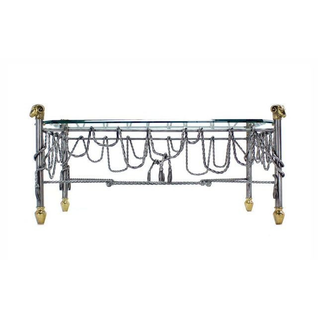 Brass Ornate Wrought Iron Brass and Glass Coffee Table For Sale - Image 7 of 8