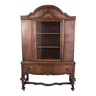 1800s 19th C Hyman Walnut China Cabinet Breakfront Cupboard Commode For Sale