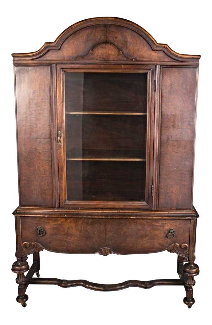 1800s 19th C Hyman Walnut China Cabinet Breakfront Cupboard Commode