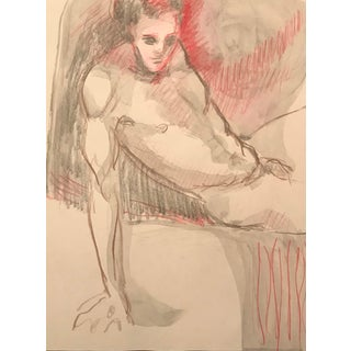 1990s Posing Male Nude Model in Studio Drawing For Sale
