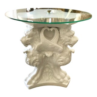 Hollywood Regency Cocktail Table With Griffins Carved Base For Sale