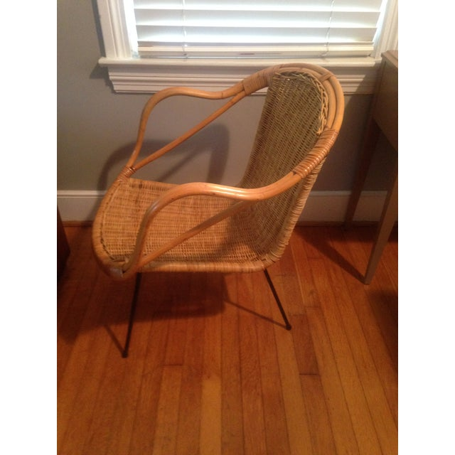 Modern Retro Wicker Metal Leg Chair For Sale - Image 3 of 7