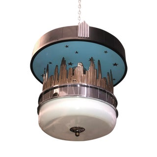 Art Deco Chicago City Skyline Chandelier With Illuminated Globe For Sale