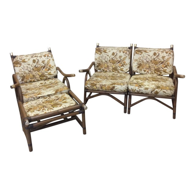 McGuire Style Bamboo Patio Set For Sale