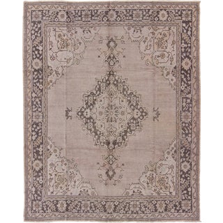 Keivan Woven Arts,En-140261, Antique Oushak With Medallion in Lavender, Gray and Charcoal- 8′7″ × 10′6″ For Sale