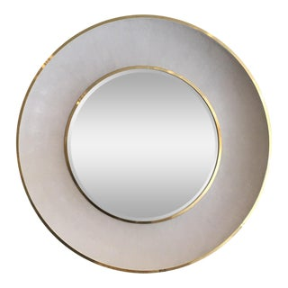 Minimalist Madegoods Ivory Shagreen & Polished Gold Round Mirror For Sale