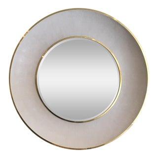 Minimalist Madegoods Ivory Shagreen & Polished Gold Round Mirror For Sale