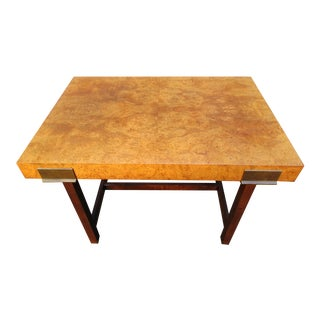 Burl Wood and Brass Bench or Side Table