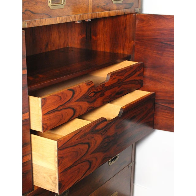 Mid 20th Century 20th Century Campaign John Stuart Rosewood and Brass Highboy Dresser For Sale - Image 5 of 13