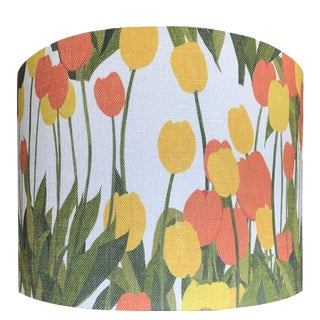 In Bloom Drum Lamp Shade in Sun Shine, 16 inch Diameter For Sale