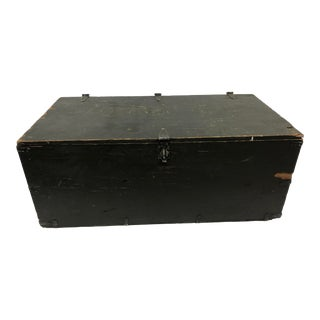Vintage Industrial Green Military Wood Foot Locker Trunk For Sale