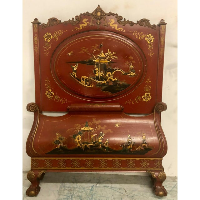 1930s Pair of English Chinoiserie Twin Beds For Sale - Image 5 of 9