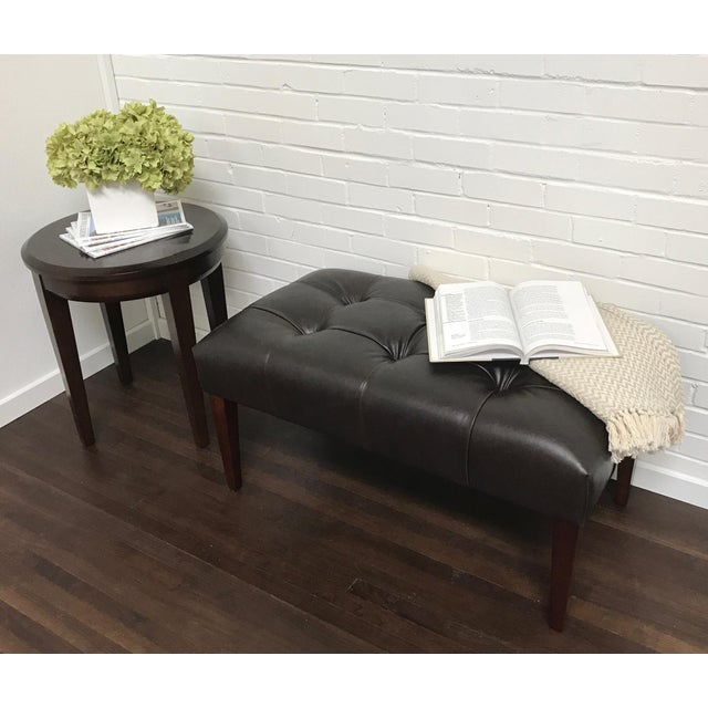 2010s Transitional ButtonlessTufted Bench With Walnut Finish For Sale - Image 5 of 9