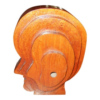 1960s Mid-Century Modern Solid Walnut Abstract Head/Bust Sculpture For Sale