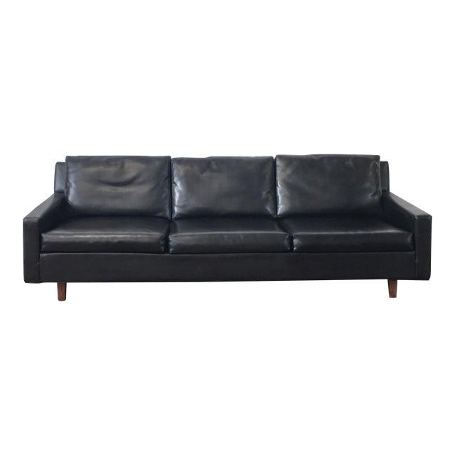 On Hold - Mid Century Black Naugahyde Sofa - Image 1 of 8