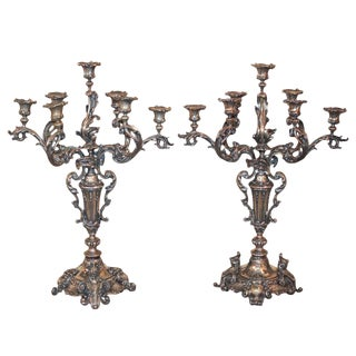 Superb Pair of Continental Silvered Candelabra For Sale