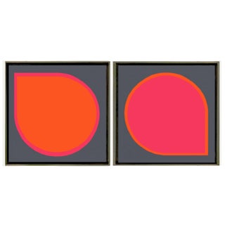 Framed Original Abstract Paintings by Brooks Burns - Set of 2 For Sale