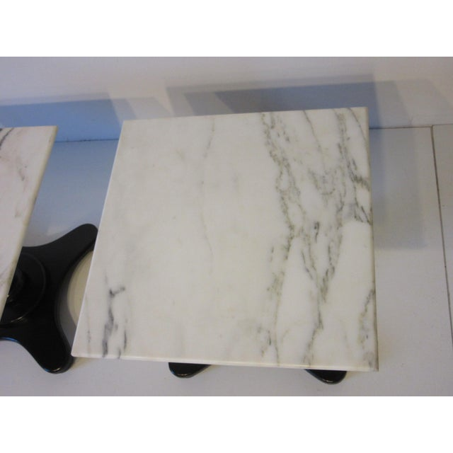 Black Italian Carrara Mable Top Pedestal Based Side Tables - a Pair For Sale - Image 8 of 10