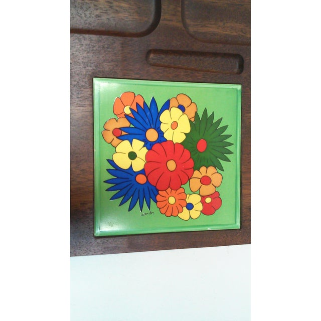 Mid Century Carved Hardwood Tile Tray For Sale - Image 5 of 9