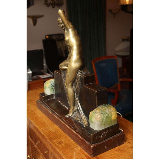 Brown Art Deco Figural Lamp by Fanny Rozet For Sale - Image 8 of 10