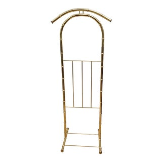 1960s Hollywood Regency Gold Metal Faux Bamboo Valet Stand For Sale
