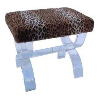 Lucite Bench With Pierre Frey Faux Fur Leopard For Sale