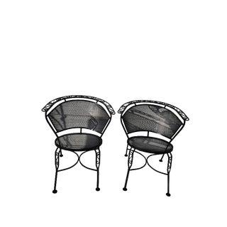 Pair Mid Century Salterini Mesh Wrought Iron Garden/Patio Chairs For Sale